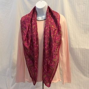 Accessories - Pink Floral Silk Square Scarf